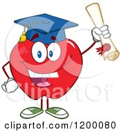 Cartoon Of A Graduate Red Apple Mascot Holding A Diploma Royalty Free Vector Clipart by Hit Toon