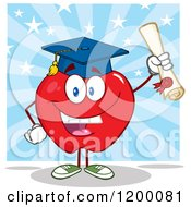 Cartoon Of A Graduate Red Apple Mascot Holding A Diploma Over Blue Rays And Stars Royalty Free Vector Clipart