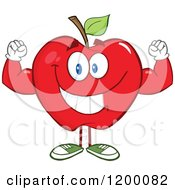 Cartoon Of A Strong Red Apple Mascot Flexing Royalty Free Vector Clipart