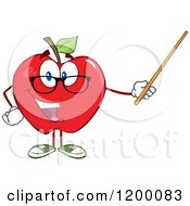 Cartoon Of A Red Apple Teacher Mascot Using A Pointer Stick Royalty Free Vector Clipart