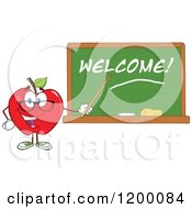 Cartoon Of A Red Apple Teacher Mascot Using A Pointer Stick By A Welcome Chalk Board Royalty Free Vector Clipart