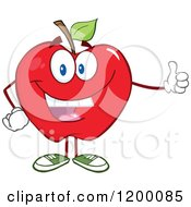 Cartoon Of A Happy Red Apple Mascot Holding A Thumb Up Royalty Free Vector Clipart