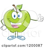 Cartoon Of A Happy Green Apple Mascot Holding A Thumb Up Royalty Free Vector Clipart by Hit Toon