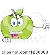 Cartoon Of A Happy Green Apple Mascot Holding A Thumb Up Over A Sign Royalty Free Vector Clipart