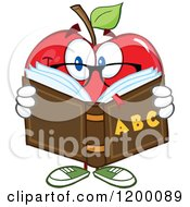Red Apple Teacher Mascot Reading An Alphabet Book by Hit Toon