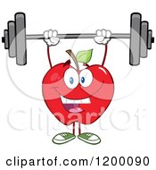 Cartoon Of A Happy Strong Red Apple Mascot Lifting A Barbell Royalty Free Vector Clipart