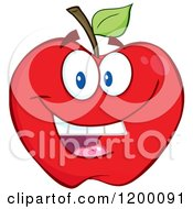 Cartoon Of A Smiling Red Apple Mascot Royalty Free Vector Clipart