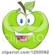 Cartoon Of A Smiling Green Apple Mascot Royalty Free Vector Clipart by Hit Toon
