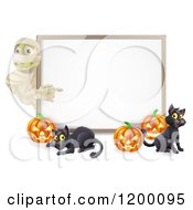 Cartoon Of A Halloween Mummy Pumpkins And Black Cats Around A White Sign Royalty Free Vector Clipart