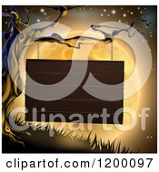 Cartoon Of A Wooden Sign Hanging From A Spooky Tree Against An Orange Halloween Moon Royalty Free Vector Clipart