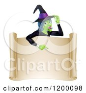 Cartoon Of A Green Halloween Witch Poinging Down To A Scroll Sign Royalty Free Vector Clipart