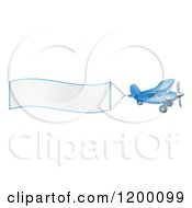 Cartoon Of A Small Blue Airplane With A Trailing Blank Banner Royalty Free Vector Clipart