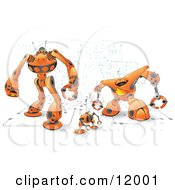 Orange Computer Protection Robots