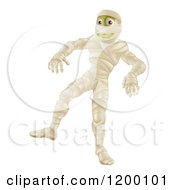 Cartoon Of A Halloween Mummy Walking Royalty Free Vector Clipart by AtStockIllustration