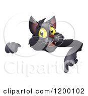 Cartoon Of A Black Cat Pointing Down At A Sign Royalty Free Vector Clipart