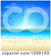 Clipart Of A Blue Sunrise Over A Beach With White Sands Mountains And Blue Water Royalty Free Vector Illustration