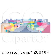 Cartoon Of A Commercial Retail Street With Shops Royalty Free Vector Clipart