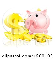 Pink Piggy Bank And Abundance Of Gold Coins And Dollar Symbol