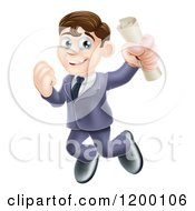 Cartoon Of A Happy Brunette Graduate Business Man Jumping And Holding A Diploma Royalty Free Vector Clipart