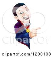 Cartoon Of A Smiling Vampire Looking Around And Pointing To A Sign Royalty Free Vector Clipart by AtStockIllustration