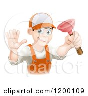 Cartoon Of A Friendly Young Brunette Plumber Holding A Plunger And Waving Royalty Free Vector Clipart