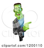 Cartoon Of A Smiling Frankenstein Looking Around And Pointing To A Sign Royalty Free Vector Clipart by AtStockIllustration