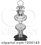 Cartoon Of A Dreaming Gray Goat Royalty Free Vector Clipart