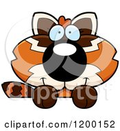 Cartoon Of A Cute Happy Red Panda Cub Over A Sign Royalty Free Vector Clipart by Cory Thoman