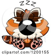 Cartoon Of A Cute Sleeping Red Panda Cub Royalty Free Vector Clipart by Cory Thoman