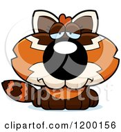 Cartoon Of A Depressed Red Panda Cub Royalty Free Vector Clipart by Cory Thoman
