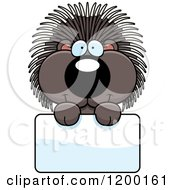 Cartoon Of A Cute Happy Porcupine Over A Sign Royalty Free Vector Clipart by Cory Thoman