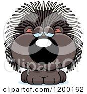 Cartoon Of A Depressed Porcupine Porcupet Royalty Free Vector Clipart by Cory Thoman