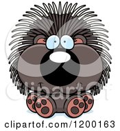 Cartoon Of A Cute Sitting Porcupine Royalty Free Vector Clipart by Cory Thoman