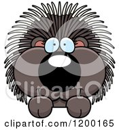 Cartoon Of A Cute Happy Porcupine Over A Surface Or Sign Royalty Free Vector Clipart by Cory Thoman