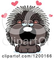Cartoon Of A Cute Loving Porcupine With Hearts Royalty Free Vector Clipart by Cory Thoman