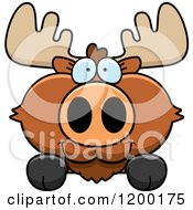Cartoon Of A Cute Moose Calf Over A Surface Or Sign Royalty Free Vector Clipart