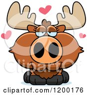 Cartoon Of A Cute Loving Moose Calf With Hearts Royalty Free Vector Clipart
