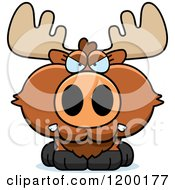 Cartoon Of A Mad Moose Calf Royalty Free Vector Clipart