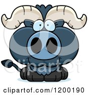Cartoon Of A Cute Happy Blue Ox Calf Royalty Free Vector Clipart
