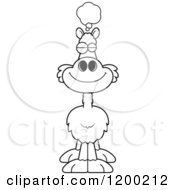Cartoon Of A Black And White Dreaming Llama Royalty Free Vector Clipart by Cory Thoman
