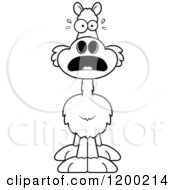 Cartoon Of A Black And White Scared Llama Royalty Free Vector Clipart by Cory Thoman