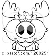 Cartoon Of A Black And White Depressed Moose Calf Royalty Free Vector Clipart