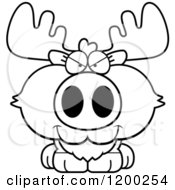 Cartoon Of A Black And White Sly Moose Calf Royalty Free Vector Clipart
