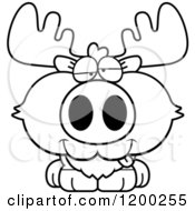 Cartoon Of A Black And White Drunk Moose Calf Royalty Free Vector Clipart