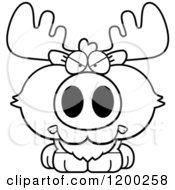 Cartoon Of A Black And White Mad Moose Calf Royalty Free Vector Clipart