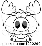 Cartoon Of A Black And White Cute Happy Moose Calf Royalty Free Vector Clipart