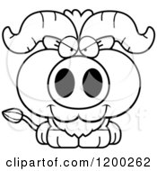 Cartoon Of A Black And White Sly Ox Calf Royalty Free Vector Clipart