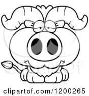 Cartoon Of A Black And White Depressed Ox Calf Royalty Free Vector Clipart