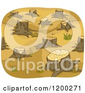 Cartoon Of A Clear Cut Area Of Tree Stumps Royalty Free Vector Clipart
