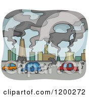 Cartoon Of A Polluted Scene Of Smoke Stacks And Cars Royalty Free Vector Clipart by BNP Design Studio